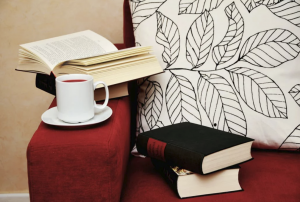 Books and tea lying on couch