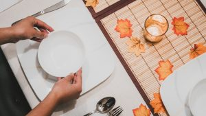 Table setting for a small Thanksgiving gathering